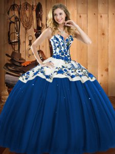 Enchanting Blue Sleeveless Satin and Tulle Lace Up Vestidos de Quinceanera for Military Ball and Sweet 16 and Quinceanera