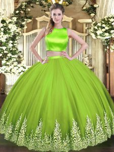 Floor Length Criss Cross Sweet 16 Quinceanera Dress Yellow Green for Military Ball and Sweet 16 and Quinceanera with Appliques