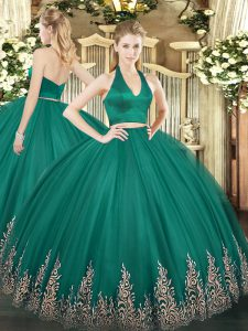 Sleeveless Floor Length Appliques Zipper Quinceanera Gowns with Dark Green
