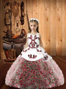 Wonderful Embroidery Pageant Gowns Multi-color Zipper Sleeveless Floor Length