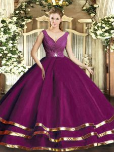 Fantastic Sleeveless Beading and Ruffled Layers and Ruching Backless Quinceanera Dresses