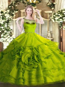 Organza Scoop Sleeveless Zipper Beading and Ruffles Vestidos de Quinceanera in Olive Green