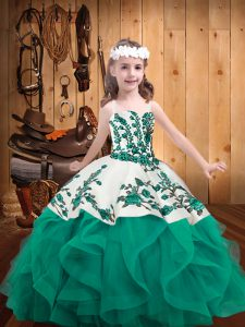 Straps Sleeveless Organza Child Pageant Dress Embroidery and Ruffles Lace Up