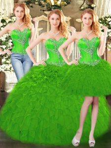 Clearance Sleeveless Beading and Ruffles Lace Up Ball Gown Prom Dress