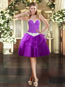 Purple Ball Gowns Sweetheart Sleeveless Tulle Mini Length Lace Up Appliques and Ruffled Layers Prom Party Dress