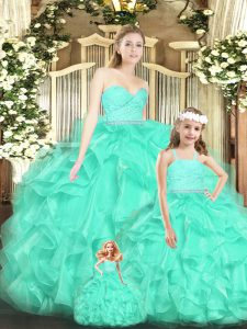 Glamorous Floor Length Lace Up Quinceanera Dresses Apple Green for Military Ball and Sweet 16 and Quinceanera with Lace and Ruffles