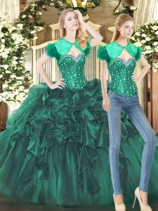 Classical Sweetheart Sleeveless Tulle Sweet 16 Dresses with Headpieces Beading and Ruffles Lace Up