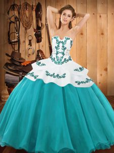 Floor Length Teal Quince Ball Gowns Strapless Sleeveless Lace Up