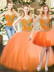 Beautiful Orange Red Three Pieces Tulle Sweetheart Sleeveless Beading Floor Length Lace Up Vestidos de Quinceanera