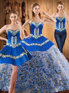 Adorable Strapless Sleeveless Satin and Fabric With Rolling Flowers Quinceanera Dresses Embroidery Sweep Train Lace Up