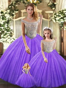 Eggplant Purple Sleeveless Floor Length Beading Lace Up 15th Birthday Dress