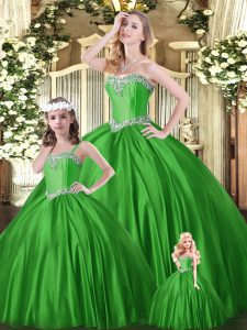 Floor Length Green Ball Gown Prom Dress Tulle Sleeveless Beading