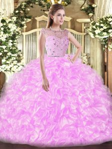Lilac Ball Gowns Bateau Sleeveless Tulle Floor Length Zipper Beading and Ruffles 15th Birthday Dress