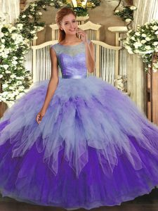 Tulle Scoop Sleeveless Backless Lace and Ruffles 15th Birthday Dress in Multi-color