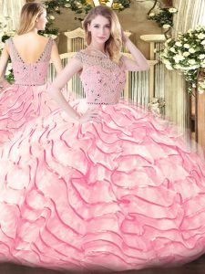 Clearance Baby Pink Zipper Vestidos de Quinceanera Beading and Ruffled Layers Sleeveless Sweep Train