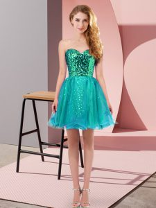 Enchanting Sweetheart Sleeveless Tulle Prom Dress Sequins Zipper