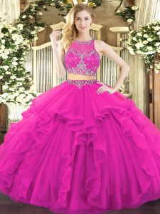 Floor Length Fuchsia Quinceanera Gowns Scoop Sleeveless Zipper