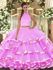 Suitable Lilac Halter Top Neckline Beading and Ruffled Layers Ball Gown Prom Dress Sleeveless Backless