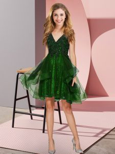 Green Sleeveless Appliques and Ruffles Knee Length Quinceanera Court of Honor Dress