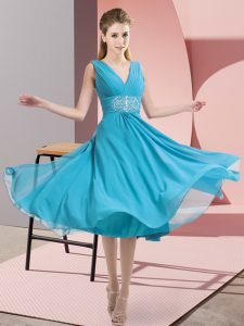 Aqua Blue Chiffon Side Zipper V-neck Sleeveless Knee Length Bridesmaid Gown Beading