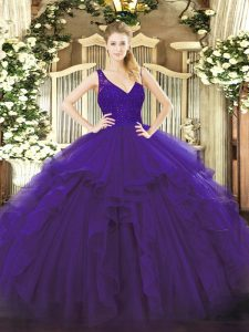 Customized Purple Sleeveless Organza Backless Vestidos de Quinceanera for Military Ball and Sweet 16 and Quinceanera