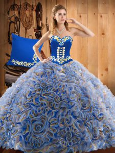 High Class Sleeveless Sweep Train Lace Up With Train Embroidery Sweet 16 Quinceanera Dress