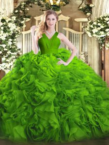 Designer Sleeveless Zipper Floor Length Ruffles Vestidos de Quinceanera