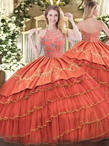 Fashion Rust Red Satin and Organza Zipper Halter Top Sleeveless Floor Length Quinceanera Dresses Beading and Embroidery and Ruffles