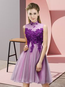 Knee Length Lilac Damas Dress High-neck Sleeveless Lace Up