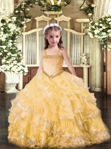 Straps Sleeveless Lace Up Pageant Gowns Gold Organza
