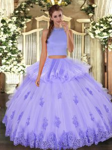 Lavender Quinceanera Dresses Military Ball and Sweet 16 and Quinceanera with Beading and Appliques and Ruffles Halter Top Sleeveless Backless