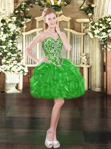 Sleeveless Mini Length Beading and Ruffles Lace Up Prom Gown with Green