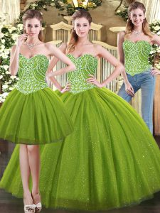 Ball Gowns Quince Ball Gowns Olive Green Sweetheart Tulle Sleeveless Floor Length Lace Up