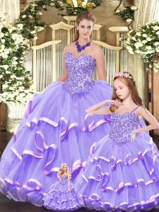 Graceful Floor Length Lavender 15th Birthday Dress Sweetheart Sleeveless Lace Up