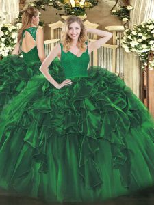 Free and Easy Floor Length Backless Sweet 16 Dress Dark Green for Military Ball and Sweet 16 and Quinceanera with Beading and Lace and Ruffles