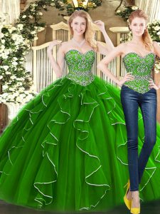 Artistic Sleeveless Floor Length Beading and Ruffles Lace Up Quinceanera Dresses with Green