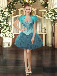 Suitable Teal Sweetheart Neckline Beading and Ruffles Homecoming Dress Sleeveless Lace Up