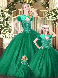 Custom Design Green Sweetheart Lace Up Beading Quinceanera Gown Sleeveless