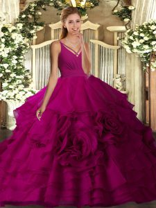Colorful V-neck Sleeveless Fabric With Rolling Flowers Quinceanera Gown Ruching Backless