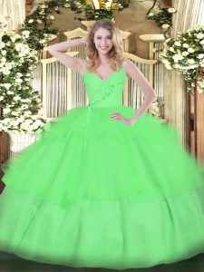 Beautiful Ball Gowns Organza Spaghetti Straps Sleeveless Ruffled Layers Floor Length Zipper Ball Gown Prom Dress