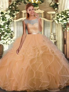 Sleeveless Lace and Ruffles Backless Quinceanera Gown