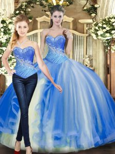 Baby Blue Ball Gowns Beading Quinceanera Gowns Lace Up Tulle Sleeveless Floor Length