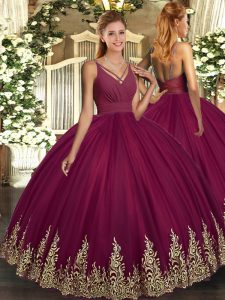 Fantastic Burgundy Sleeveless Floor Length Appliques Backless Quinceanera Dress