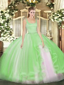 Lovely Tulle Straps Sleeveless Zipper Beading Quinceanera Gown in
