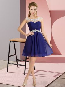 Stunning Scoop Cap Sleeves Lace Up Homecoming Dress Royal Blue Chiffon