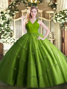 Amazing Olive Green Ball Gowns Tulle V-neck Sleeveless Beading Floor Length Zipper Quince Ball Gowns
