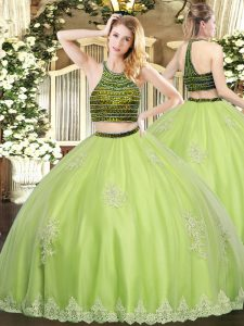 Yellow Green Sweet 16 Quinceanera Dress Military Ball and Sweet 16 and Quinceanera with Beading and Appliques Halter Top Sleeveless Zipper