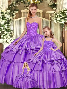 Noble Sweetheart Sleeveless Organza Vestidos de Quinceanera Beading and Ruffled Layers Lace Up