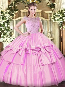 Fantastic Lilac Bateau Zipper Beading and Ruffled Layers Quinceanera Gowns Sleeveless