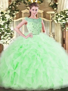 Traditional Tulle Bateau Sleeveless Zipper Beading and Ruffles 15 Quinceanera Dress in Apple Green